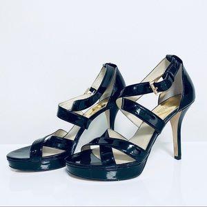 Michael Kors Black Patent leather Sandals Heels 9